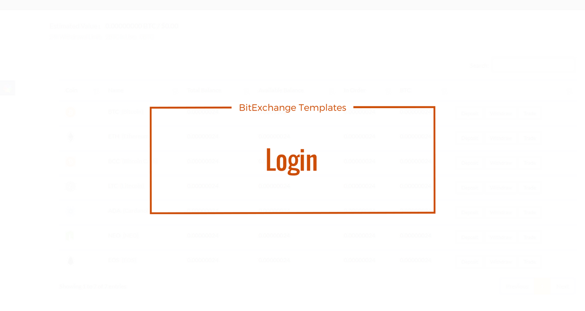 Bitcoin Exchange Template